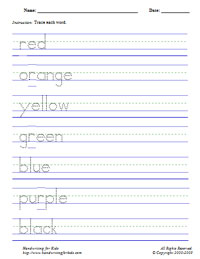 Worksheets Handwriting Worksheets Generator basic handwriting for kids manuscript vocabulary words sample of 7 worksheet colors